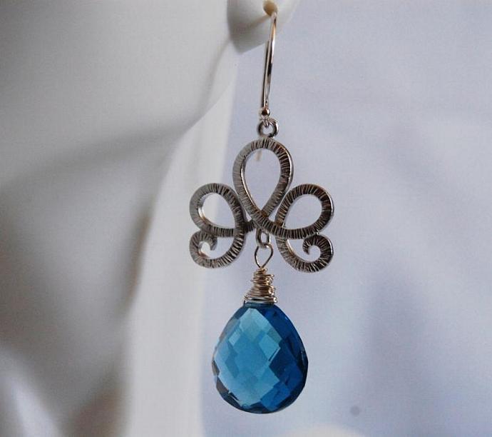 Gorgeous London Blue Quartz dangle Earrings.