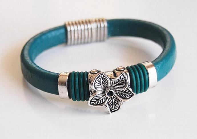 Teal Green Licorice Leather And Flower Slider -Green O ring Bracelet- Bangle