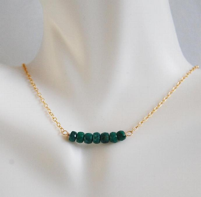 May Birthstone Genuine Emerald  necklace with Gold filled Chain- May Birthstone