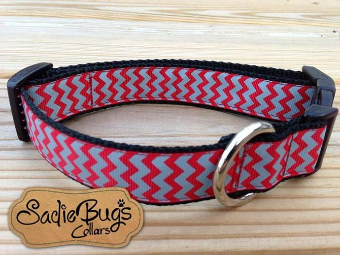 Crimson and Gray Chevron Dog Collar