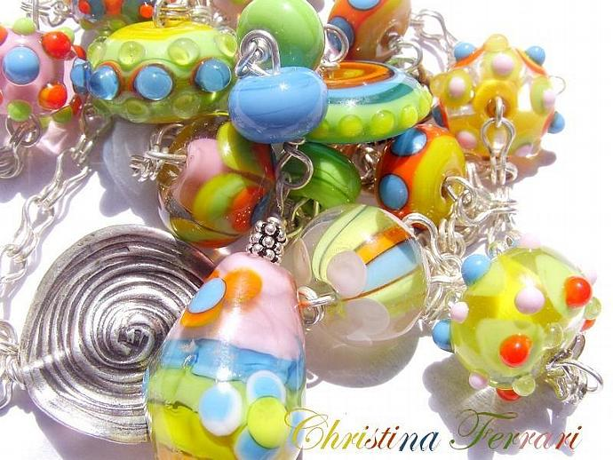 1331 -  NECKLACE in Silver Sterling and Lampwork colorful - FREE SHIPPING