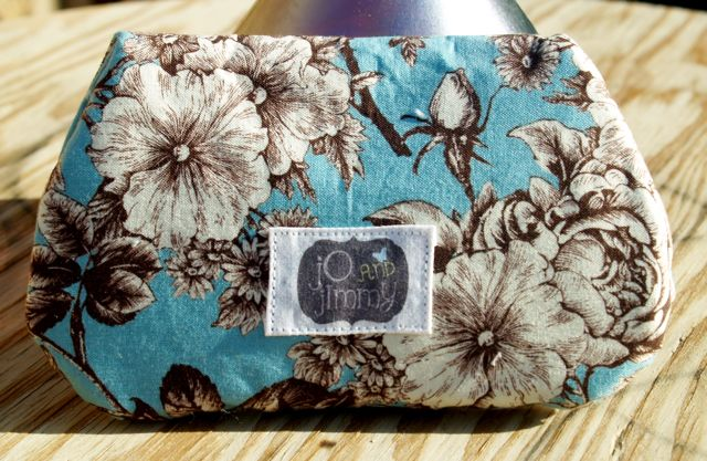 Handcrafted Blue Brown White Floral Clutch Bag