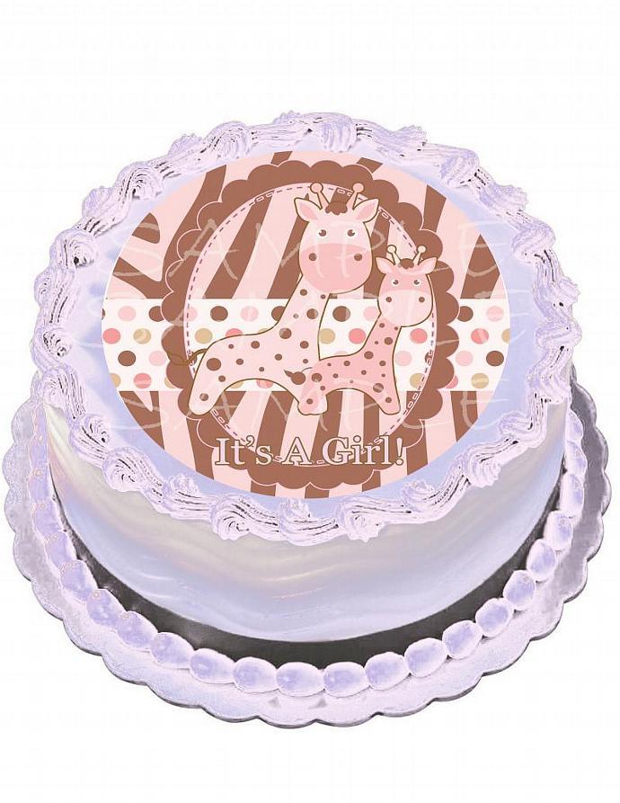 Pink Giraffe Baby Shower Cake Topper