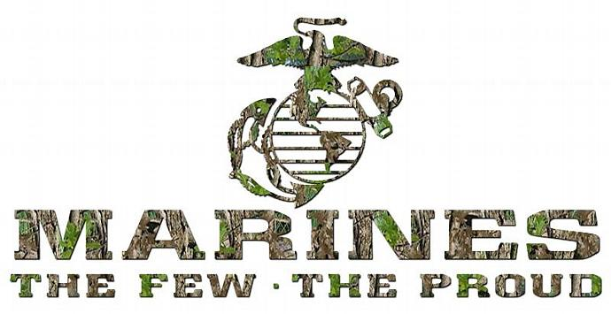 CAMOUFLAGE CAMO USMC MARINES THE FEW THE PROUD VINYL DECAL STICKER  FOR CAR AUTO