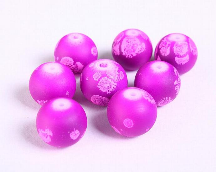 12mm purple round rubberized style glass beads - 8 pieces (1171)