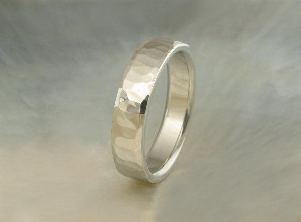 6mm wedding band, hand hammered in 14k white gold -- unique artisan ring