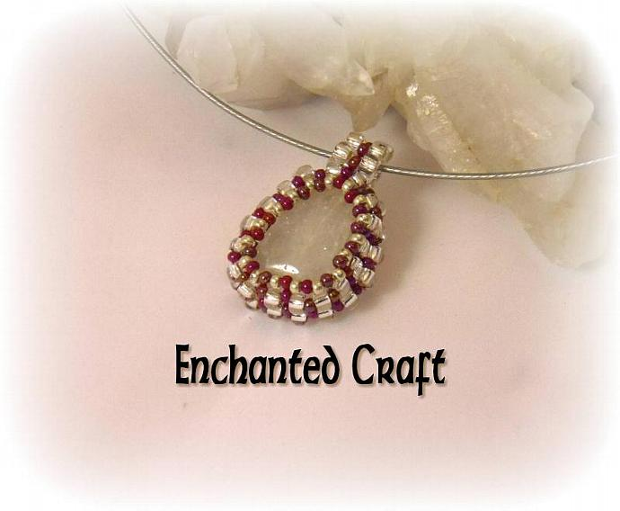 Snowflake Quartz beaded pendant- silver and ruby beads