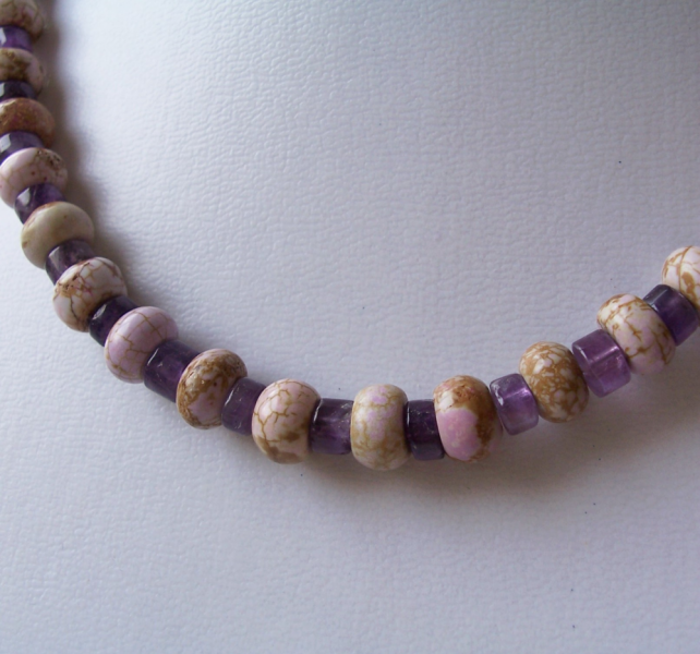 Lavender Magnesite and Amethyst Choker Necklace