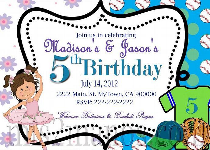 Baseball and Ballerina Birthday Invitation by Mis2Manos on Zibbet