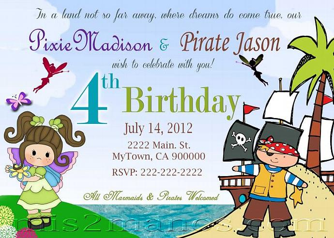 Fairies and Pirates Birthday Invitation by Mis2Manos on Zibbet