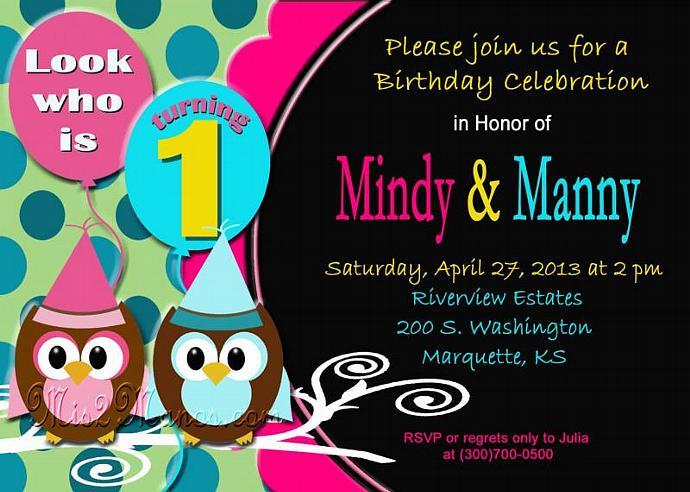 Twins Birthday Invitation - Baby Owl- Printable