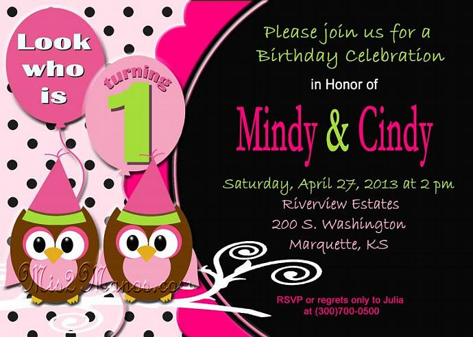 Baby Owl Twin Girls Birthday Invitation