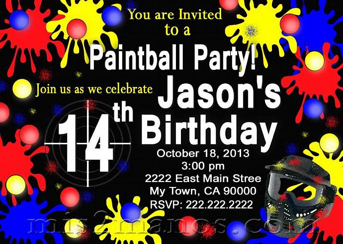 Paintball Birthday Party Invitation Teen Birthday Party, Boy Party Invitation