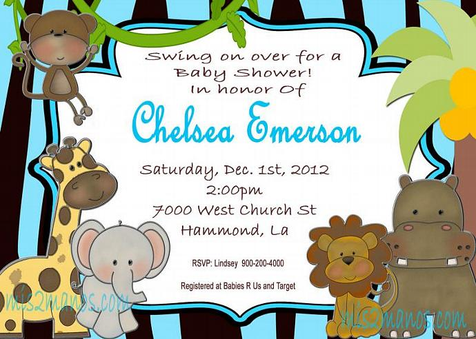 Jungle Baby Animals Baby Shower Custom Printable Invitation Boy Kids Girl King
