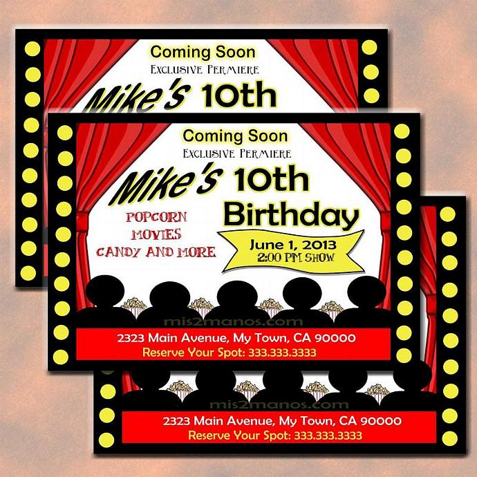 Movie Party Invitation DIY Printable Birthday By Mis2Manos On Zibbet