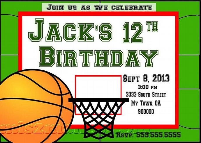Basketball Party Teen Birthday Boy Invitation Printable