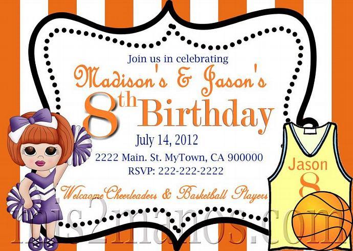 Basketball Party Teen Birthday Boy Invitation Printable