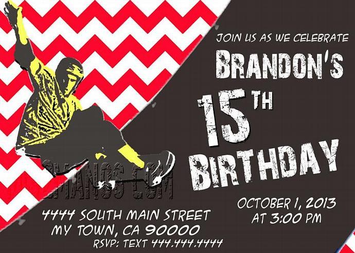 Skateboarding teen birthday party chevron by mis2manos on zibbet skateboarding teen birthday party chevron birthday invitation boy party filmwisefo