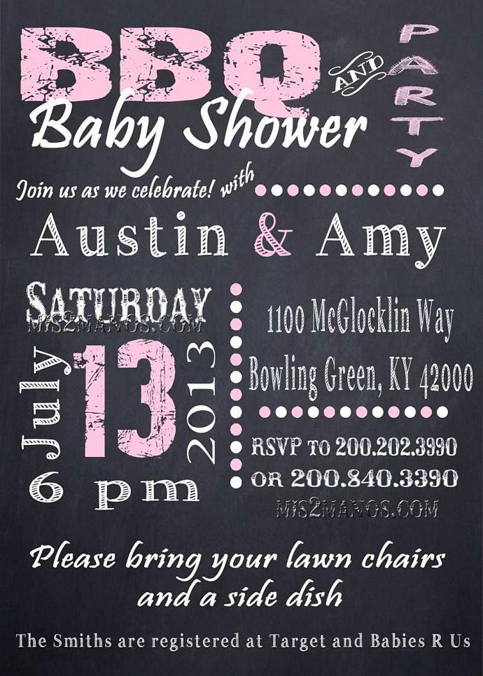 Chalkboard Couples BBQ and Baby Shower Invitation, chalkboard,Pink, Shower