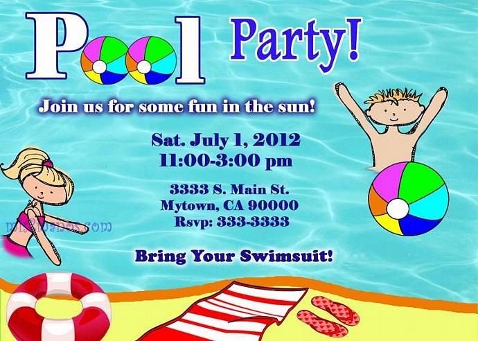 Pool Party Invitations DIY Custom Printable Birthday Print At Home