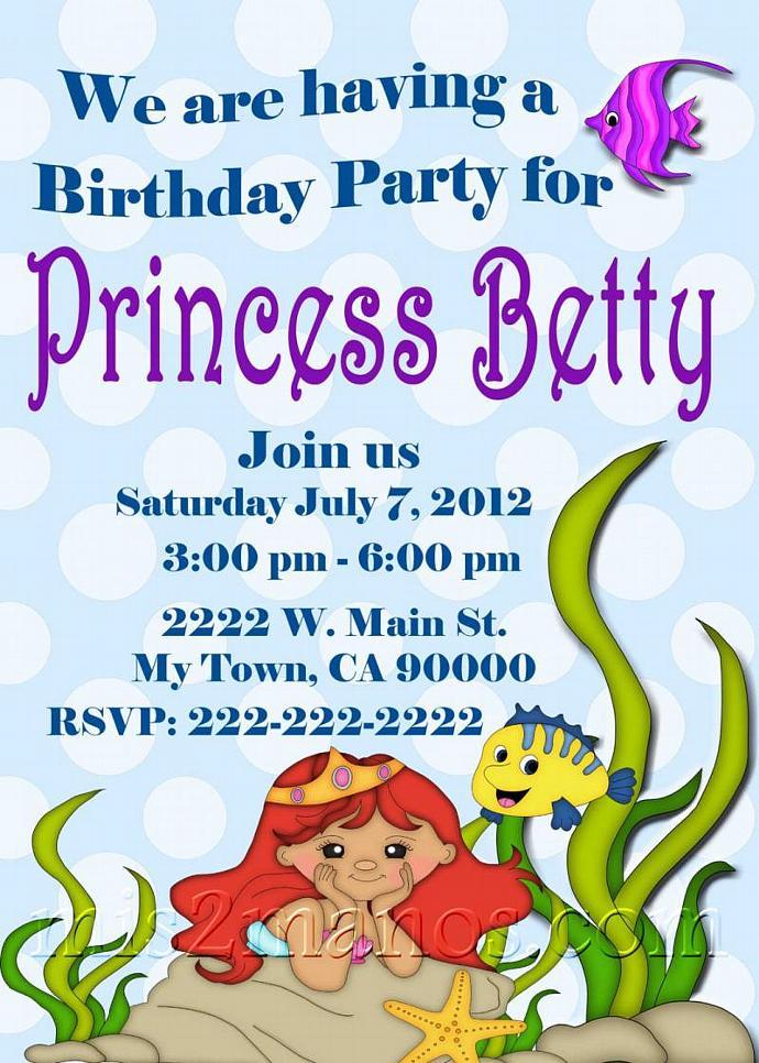 Under The Sea Birthday Party Ariel Mermaid Invitation PRINTABLE