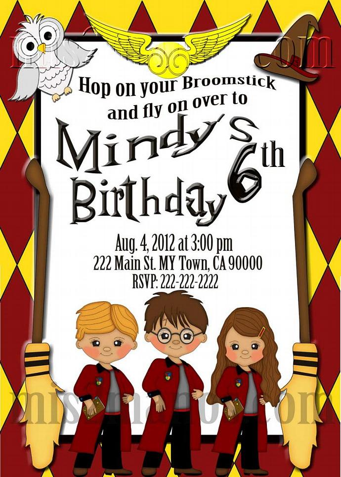 Wizard Birthday Invitations School of Wizardry by Mis2Manos on Zibbet