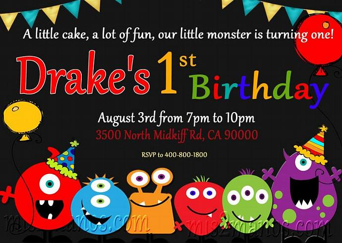 little monster birthday party invite diy by mis2manos on zibbet