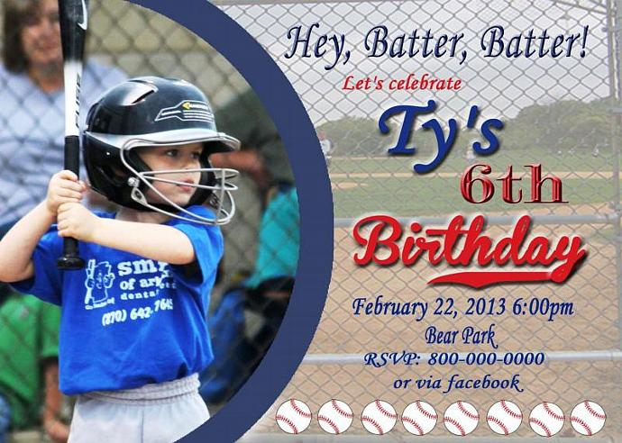 Baseball Invitations Printable Photo Card DIY Birthday Cards Print At Home Or
