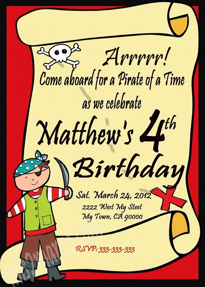 Pirate Theme Birthday  Invitations Printable One Hour Printable Photo Print at