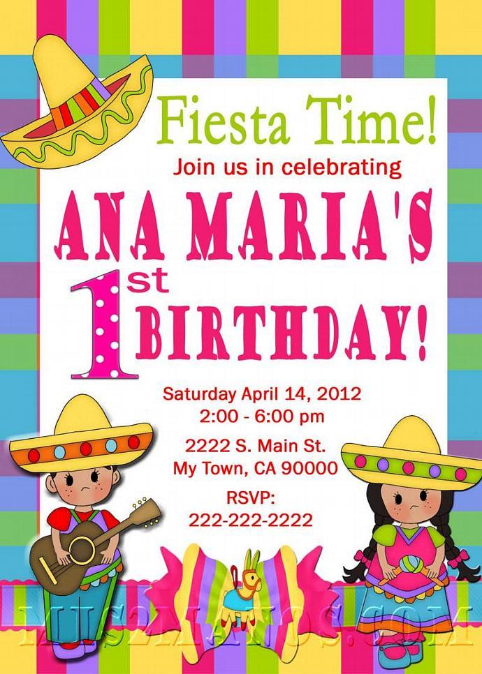 Fiesta Birthday Invitation 1st Birthday | Mis2Manos