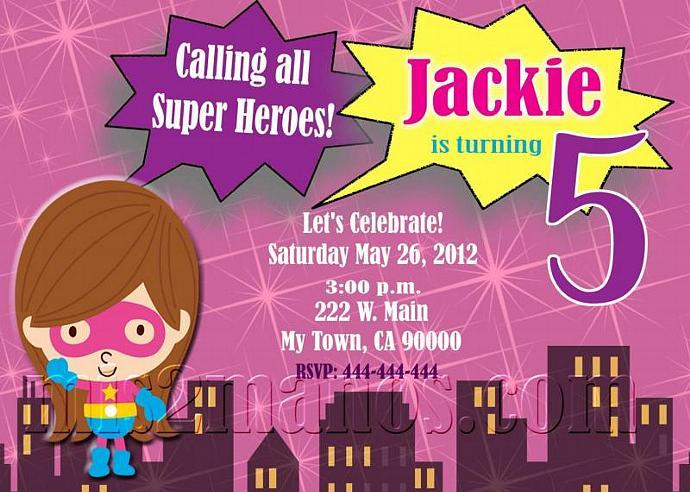 Comic Book Super Hero Pink Birthday Invitation - Superheroes Printable DIY Pint