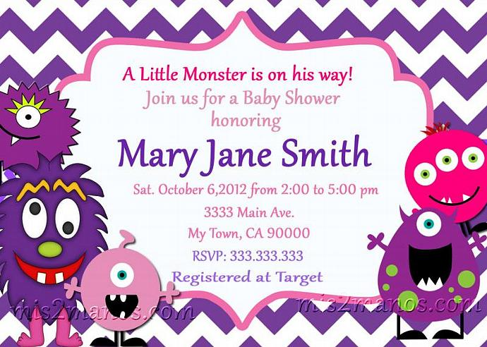 Monster Baby Shower Invites Little Monster Party By Mis2manos On