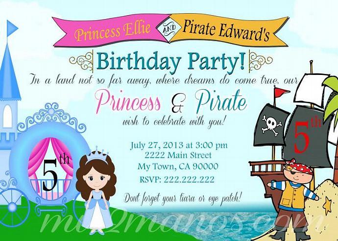 Pirate And Princess Invitation Printable By Mis2manos On Zibbet