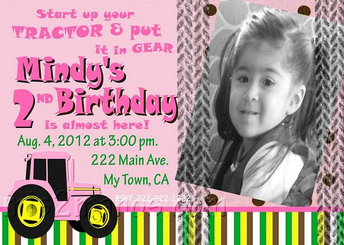 Pink Tractor Birthday Party Invitations With By Mis2Manos On Zibbet