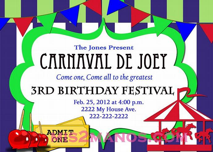 Carnival Birthday Party Printable KIT Lime Green custom order Carousel Party