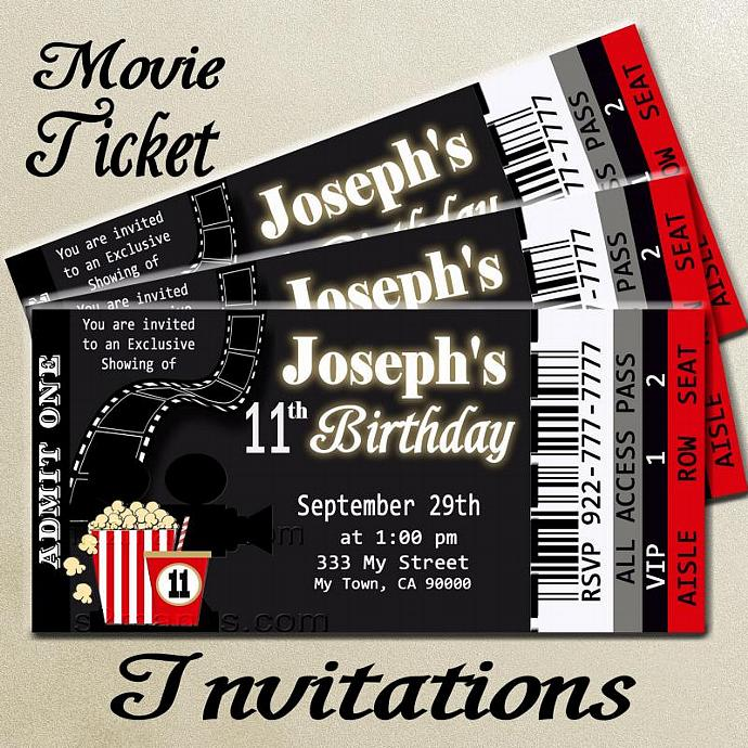 movie ticket red carpet party invitation