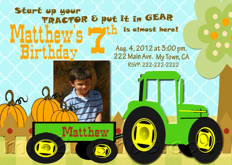 Boys Tractor Birthday Party Invitations With