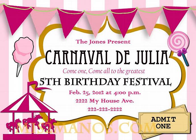 Carnival Birthday Party Invitation Diy Printable Pink Custom Order Carousel
