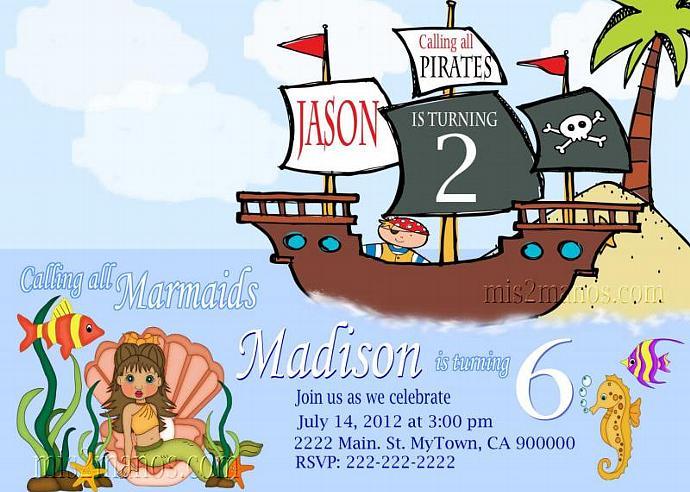 Mermaid And Pirate Birthday Invitation PRINTABLE INVITATIONS Twins Party Invitations Print At Home