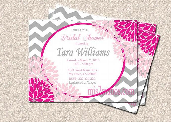 Bridal Shower Pink and Gray Chevron Pink Blossoms Flower Shabby Chich DIY Custom