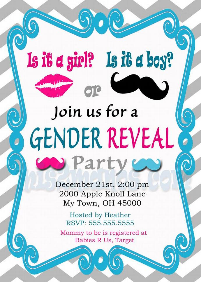 Gender Reveal Invitation Baby Shower Invites by Mis2Manos on Zibbet