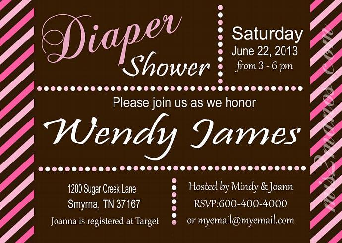 Diaper Shower Baby Invites Party Invitations Printable