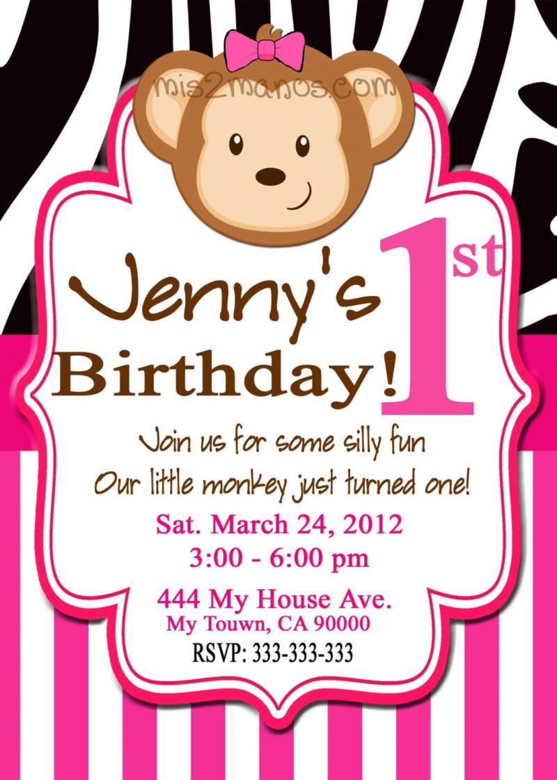 Monkey Birthday Invitation Pink Zebra Green | Mis2Manos