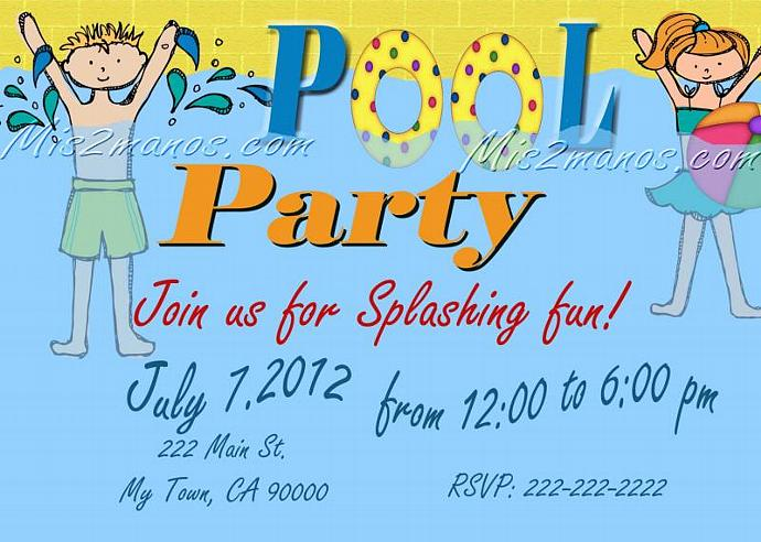 Pool Party Invitations DIY Custom Printable By Mis2Manos On Zibbet