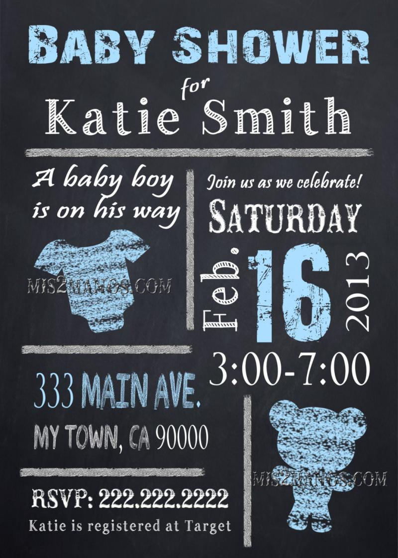 Chalkboard Baby Shower Invites Baby Boy or Baby by Mis2Manos on