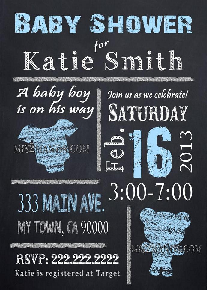 chalkboard baby shower invites baby boy or baby girl party invitations