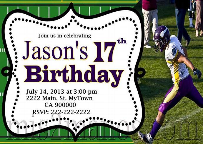 Football Birthday Invitation PRINTABLE INVITATIONS Teens Party