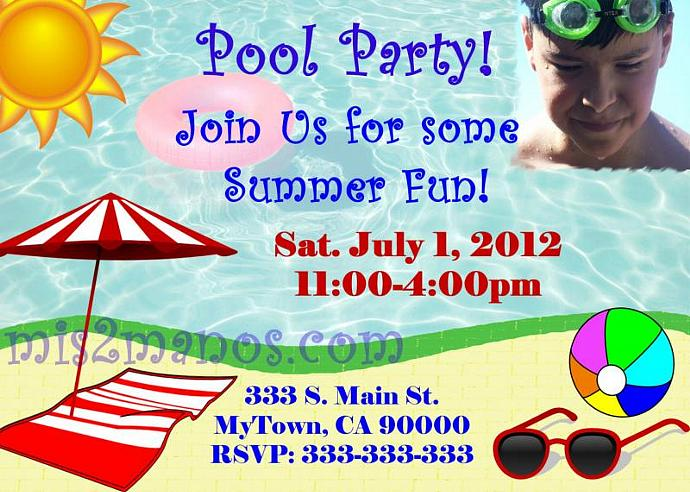 Pool Party Invitations DIY Custom Printable Summer Birthday Print