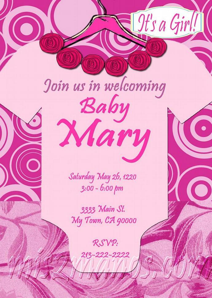 Baby Shower Onesie Girl Invitations Printable | Mis2Manos