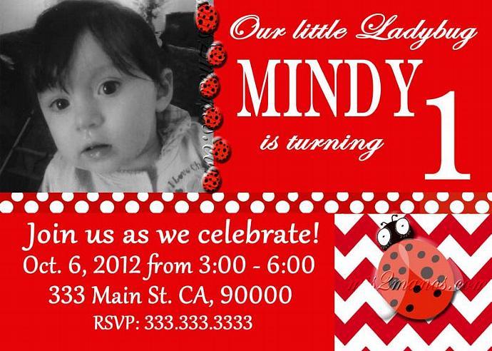 Ladybug Invitations Custom Birthday Ladybug  Printables Photo Invite